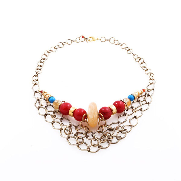 Chunky statement handmade necklace with red coral and carnelian, from the Minu Jewels jewelry collection at Boyajian Trend Gallery.