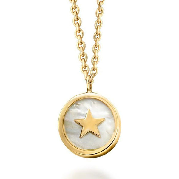 18k Gold White Mother of Pearl Star Necklace