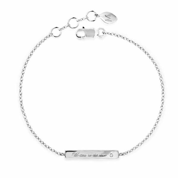 Engraved Bracelet with Inset Diamond (Sterling Silver / Gold)