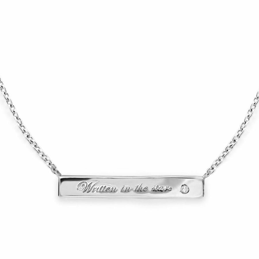 Missoma sterling silver engraved bar necklace at Boyajian Trend Gallery jewelry boutique