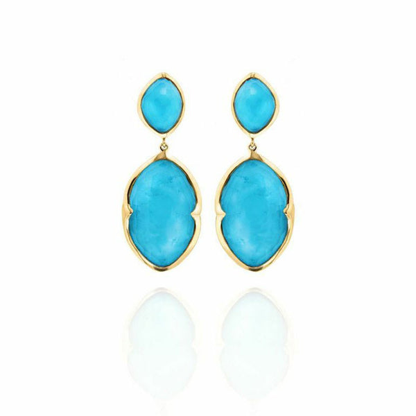 Gold Double Drop Earrings (Various Stones)