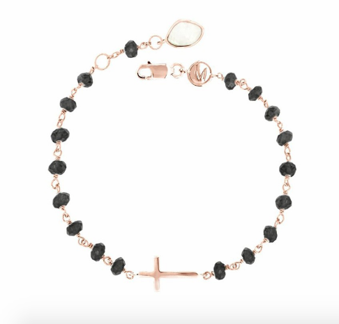 Rose Gold Sideways Cross Charm Bracelet