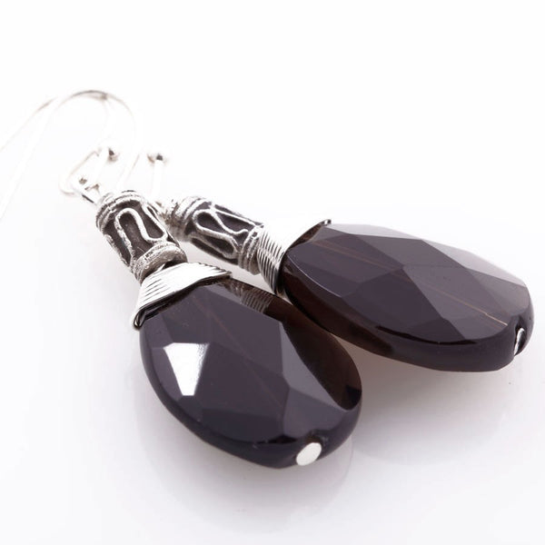 smokey quartz silver handmade drop earrings minu jewels boyajian jewelry