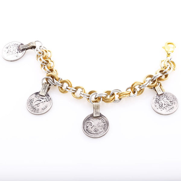 Pakistani coin handmade bracelet, silver gold chains, from Minu Jewels jewelry collection at Boyajian Trend Gallery.