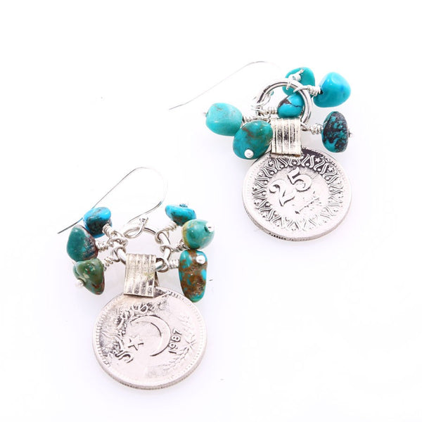 'Sarda' Coin & Turquoise Earrings