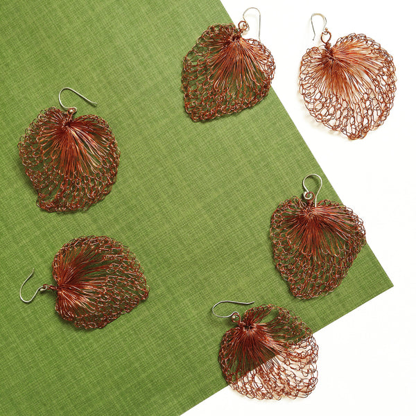 Woven Copper Leaf Earrings
