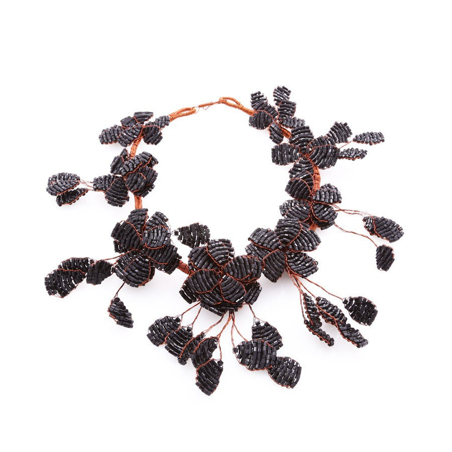 Beaded Flower Choker Necklace (Black or Green)