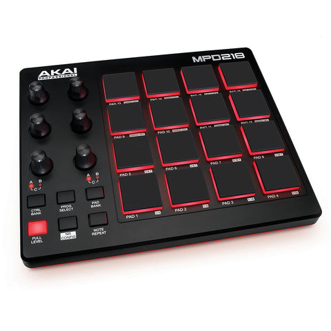 AKAI MPD218 MIDI Drum Pad Controller with Software