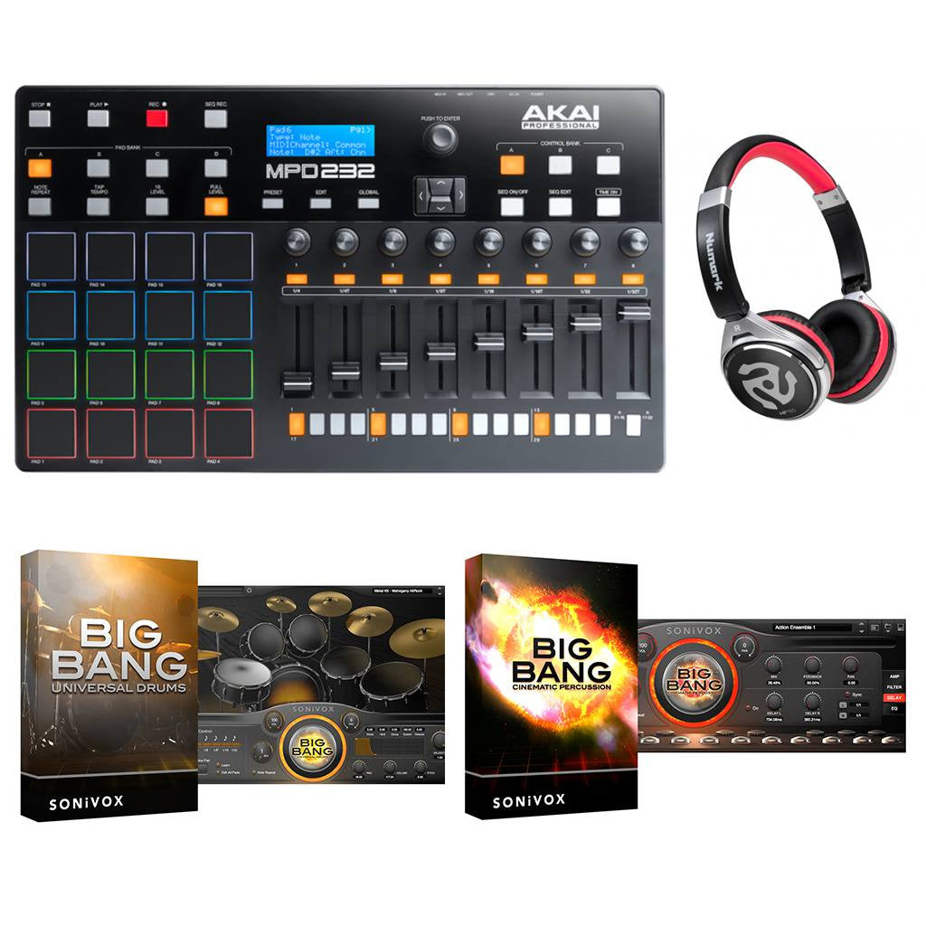 Akai MPD232, Numark HF150 and Sonivox Software Package