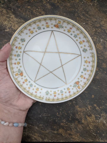 Full Bloom - pentacle charging dish or scrying bowl