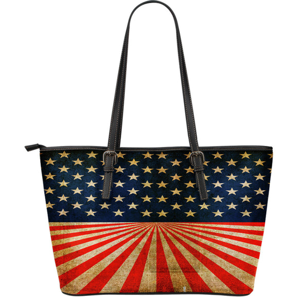 US Flag Large Vegan Leather Tote Bag