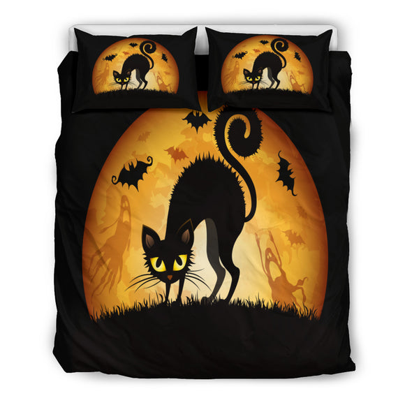 Black Cat Halloween Doona Bedding 3 Piece Set
