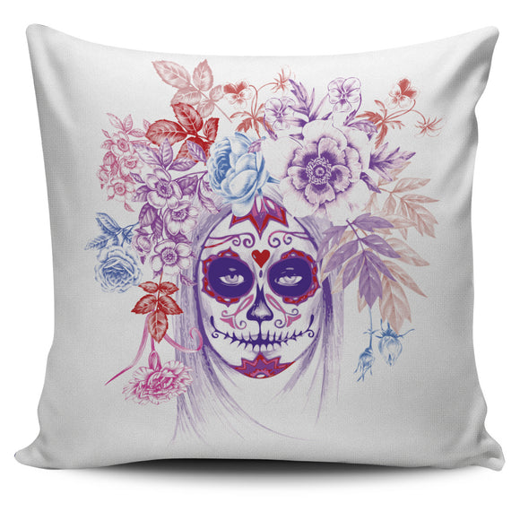 Floral Calavera Pillow Cover