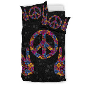 Peace Sign Bedding Set in Black