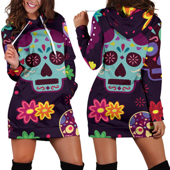 Muerte Skulls and Flowers Hoodie Dress