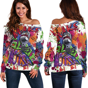 women`s Off Shoulder Make Some Noise Sweater