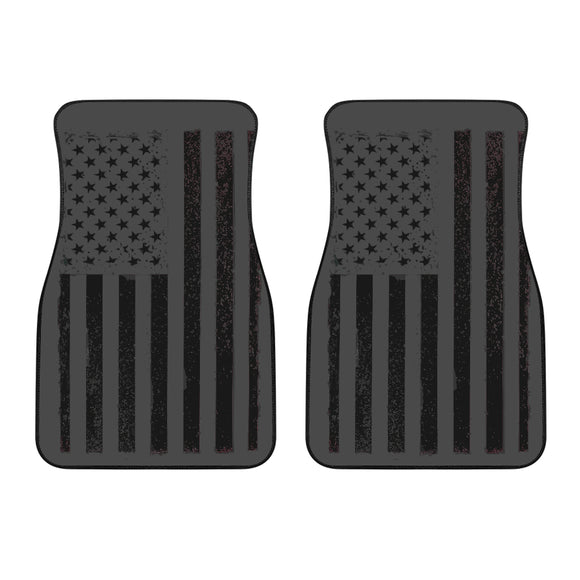 USA Flag Black Front Car Mats
