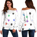 Women's Off Shoulder Sweater Color Paw prints