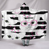 B/W Stripped Cats with Glasses Hooded Blanket