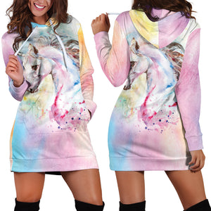 Multi-Color Unicorn Hoodie Dress