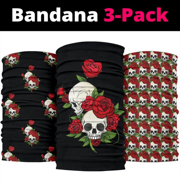 Skull Couple Roses (Black) - Bandanna 3 Pack