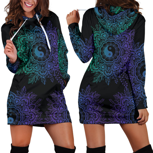 Purple Yin Yang Lotus Hoodie Dress