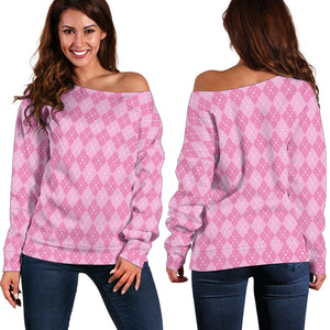 Pink Argyle Women's Off Shoulder Sweater