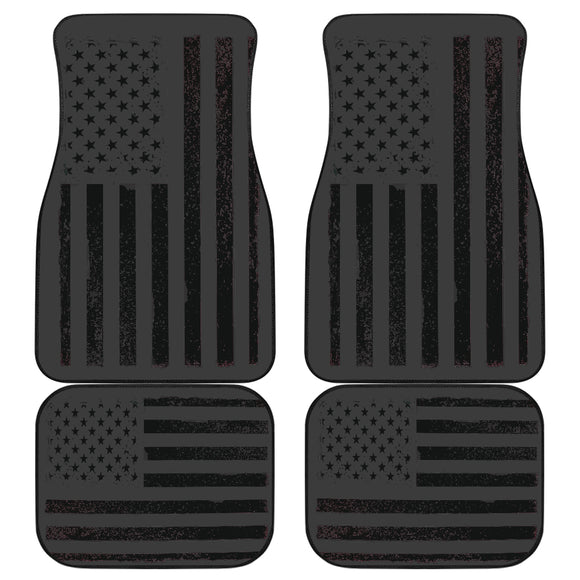 USA Flag Black Front/Back Car Mats