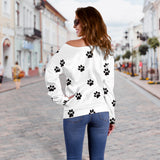 Women's Off Shoulder Black/White Paw Prints Sweater