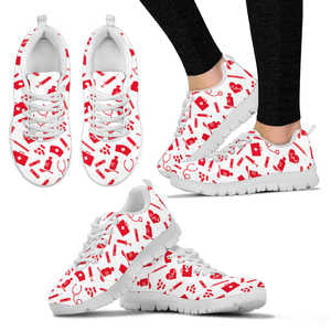 Nurse Tools of the Trade Print Women's Sneakers (Red and White)