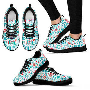Fun Nurse Print Sneakers for Women (Black)