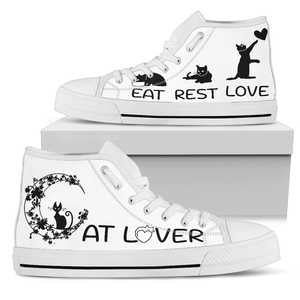 Cat Lover White Sole Women's High Top Canvas Shoes