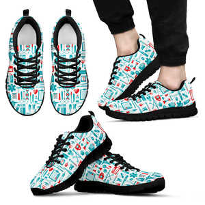 Fun Nurse Print Sneakers for Men (Black)