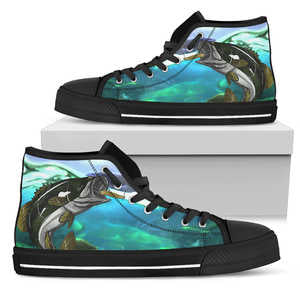 Canvas Bass Fish Shoes - Women (Black)