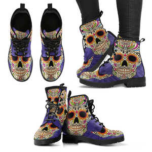 Purple SSkull Vegan Women's Boots
