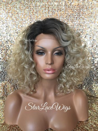 Short Curly Ashy Blonde Synthetic Lace Front Wig