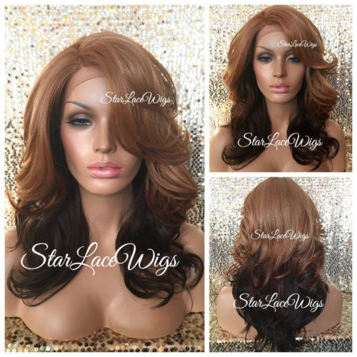 Strawberry Blonde Ombre Synthetic Lace Front Wig Layers Bangs