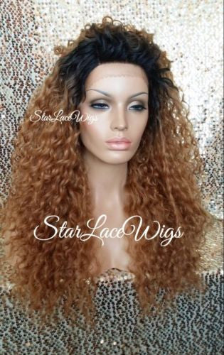 Long Strawberry Blonde Dark Root Lace Wig
