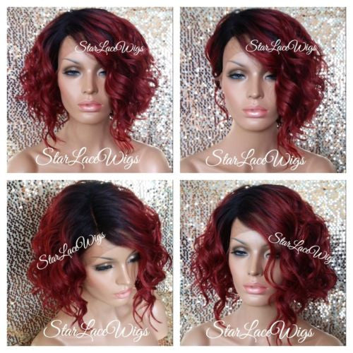 Red Human Hair Blend Wavy Bob Wig