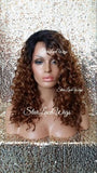 Curly Human Hair Blend Lace Wig With Dark Roots