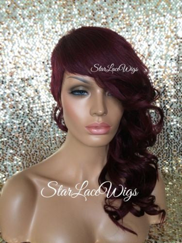Burgundy Curly Synthetic Wig Shaved Side