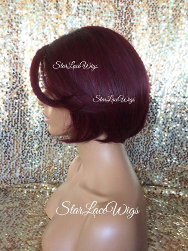 Burgundy Human Hair Blend Wigs For Sale