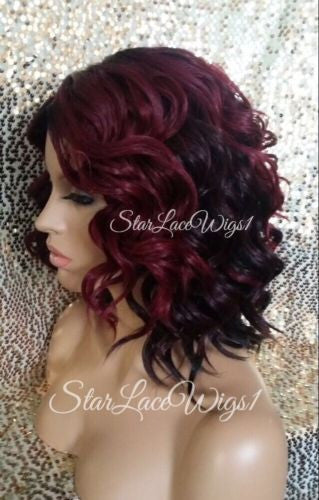 Short Curly Burgundy Cheap Wigs