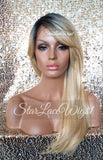 Long Straight Blonde Lace Wig With Dark Roots Bangs