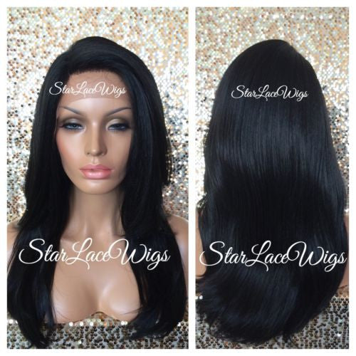 Long Black Layered Human Hair Blend Lace Front Wig