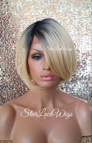 Blonde Bob Lace Wig With Dark Roots