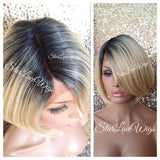 Short Straight Blonde Bob Wig With Dark Roots