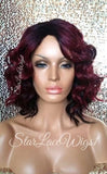 Short Wavy Burgundy Dark Root Wig For Sale