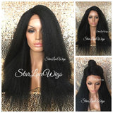 Black Yaki Kinky Straight Synthetic Lace Front Wig