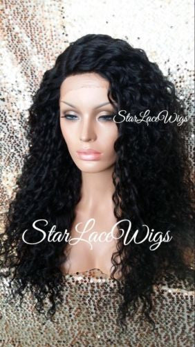 Long Black Wavy Synthetic Lace Front Wig